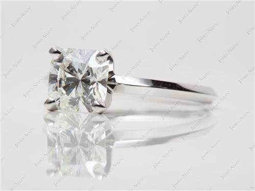 White Gold 1.48 Radiant cut Round Solitaire Ring