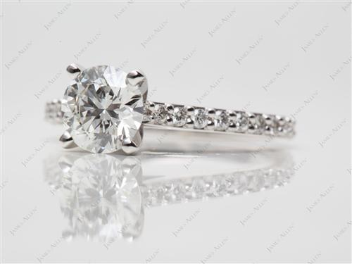 White Gold 1.23 Round cut Diamond Rings
