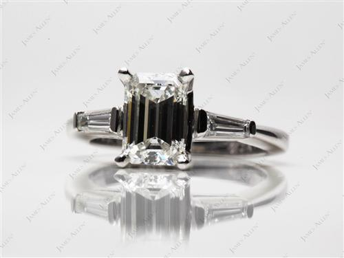 Platinum 1.62 Emerald cut Engagement Ring With Side Stones