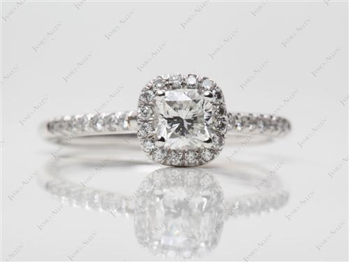Platinum 0.51 Cushion cut Pave Diamond Rings
