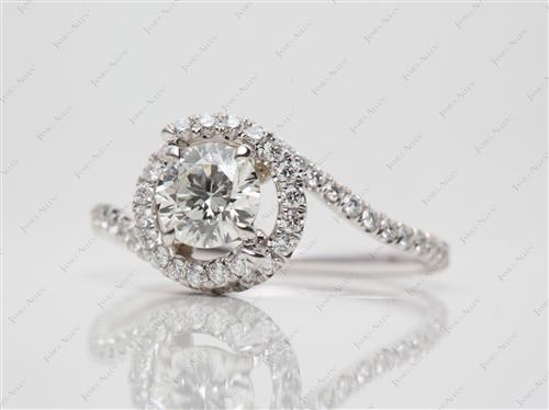 White Gold 0.69 Round cut Micro Pave Rings
