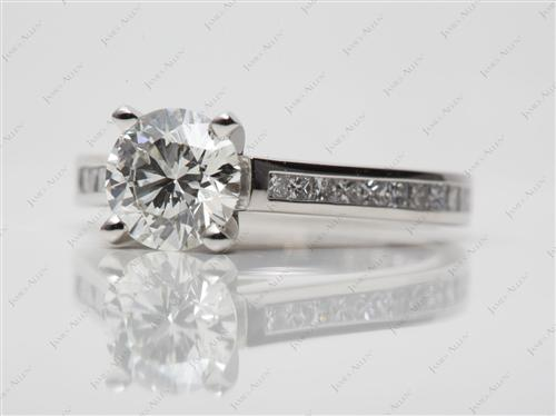Platinum 1.23 Round cut Channel Set Diamond Engagement Rings