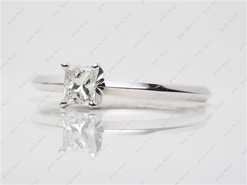 White Gold 0.45 Princess cut Solitaire Ring Mountings