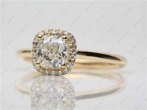 Gold 1.22 Cushion cut Pave Ring Settings