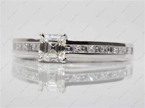 Platinum 0.74 Asscher cut Channel Engagement Rings