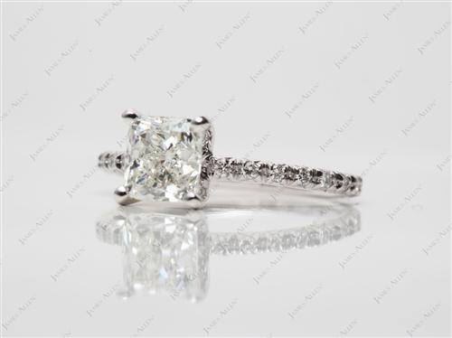 White Gold 1.30 Cushion cut Micro Pave Engagement Rings