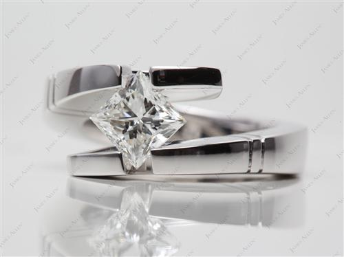 White Gold 1.21 Princess cut Tension Setting Engagement Rings