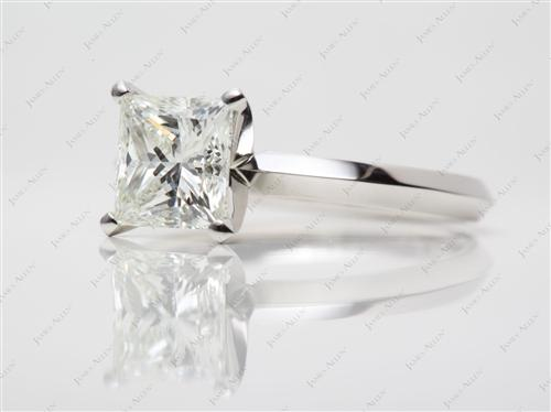 Platinum 2.13 Princess cut Solitaire Ring Settings