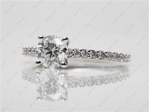 White Gold 0.77 Round cut Diamond Ring