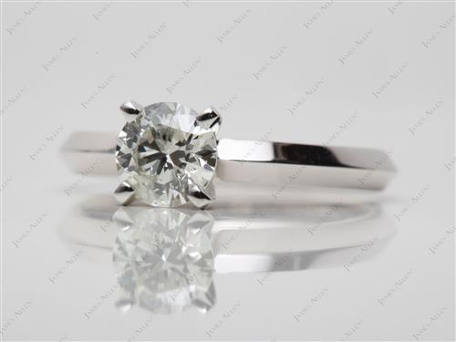 White Gold 0.78 Round cut Solitaire Ring Setting