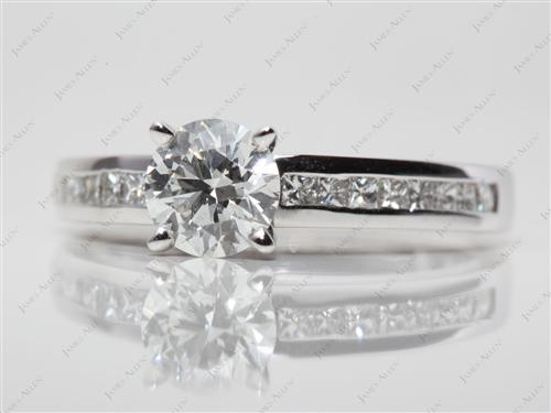 White Gold 1.01 Round cut Channel Engagement Ring