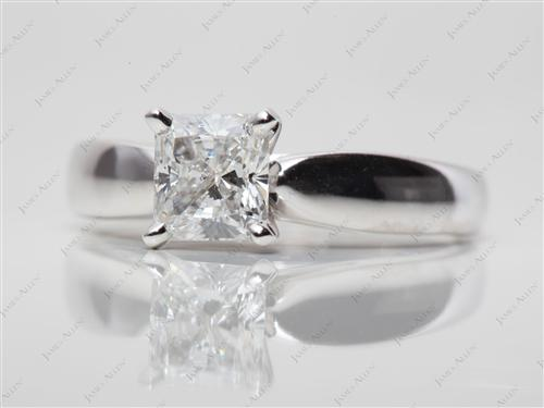White Gold 1.03 Radiant cut Engagement Rings