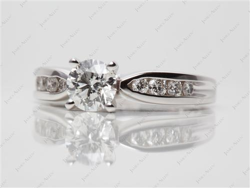 White Gold 0.70 Round cut Diamond Channel Rings