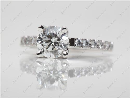 White Gold 1.03 Round cut Pave Engagement Rings