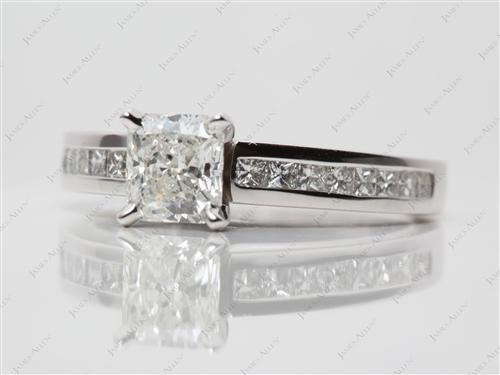 White Gold 1.07 Radiant cut Channel Diamond Ring