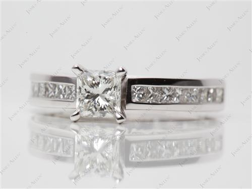 White Gold 0.60 Princess cut Channel Diamond Ring