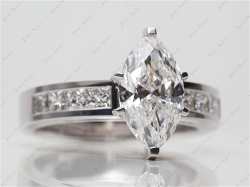 White Gold 2.02 Marquise cut Diamond Channel Rings