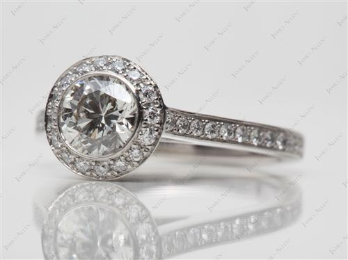 Platinum 0.93 Round cut Pave Ring Setting