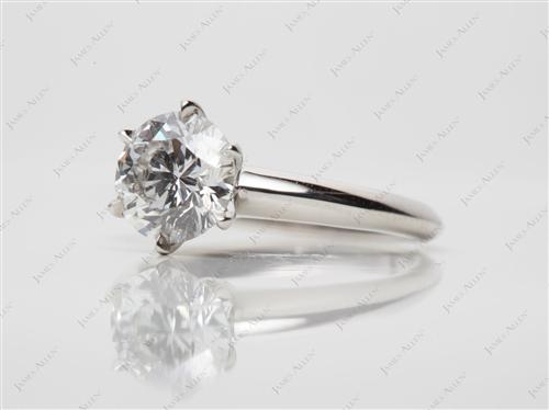 Platinum 1.23 Round cut Solitaire Diamond Ring