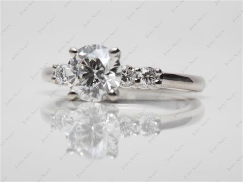 Platinum  Engagement Ring With Sidestones