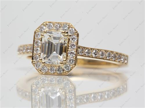 Gold 0.91 Emerald cut Engagement Rings
