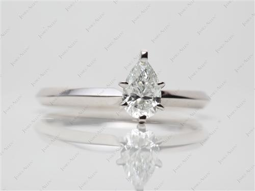 White Gold 0.51 Pear shaped Solitaire Diamond Rings
