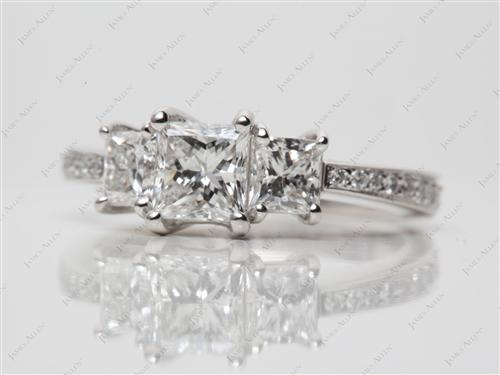 Platinum 0.83 Princess cut Three Stones Diamonds Rings
