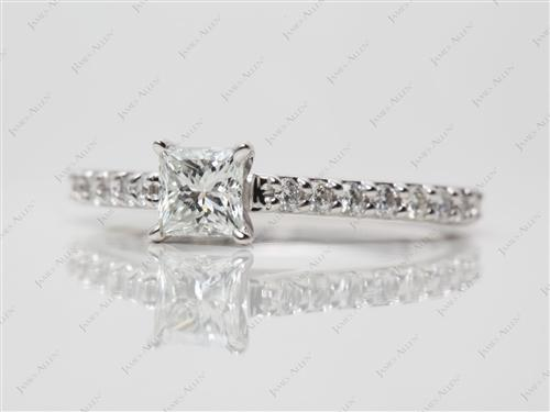 White Gold 0.38 Princess cut Side Stone Engagement Rings