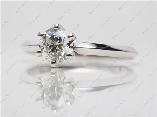White Gold 0.75 Round cut Diamond Solitaire Engagement Ring