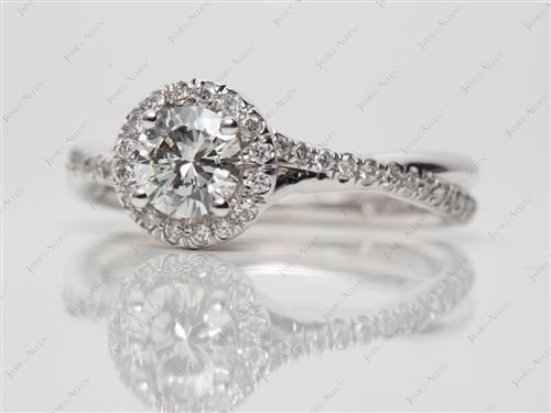 White Gold 0.50 Round cut Engagement Ring Micro Pave
