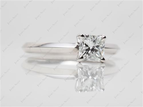 White Gold 0.70 Radiant cut Solitaire Engagement Ring