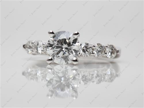 White Gold 0.91 Round cut Diamond Rings
