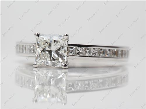 White Gold 1.00 Princess cut Channel Set Diamond Engagement Ring