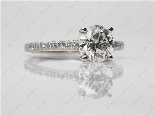 Platinum 1.22 Round cut Pave Diamond Engagement Ring