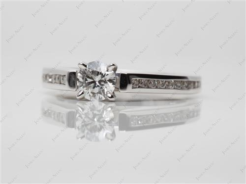 White Gold 0.37 Round cut Channel Set Engagement Rings