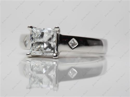 Platinum 1.07 Princess cut Solitaire Ring Setting