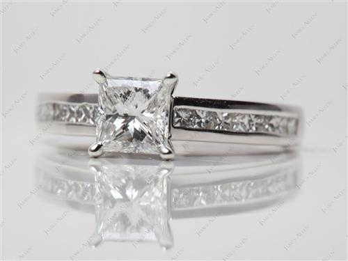 White Gold 1.05 Princess cut Channel Set Diamonds