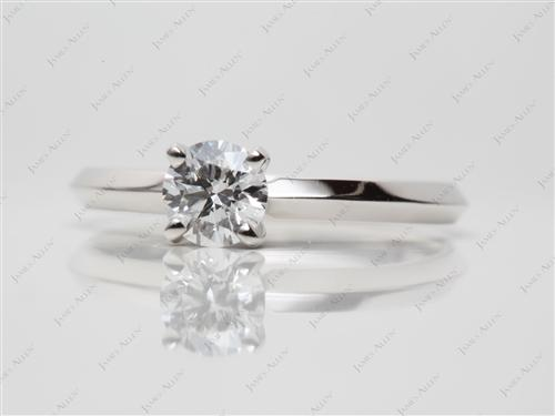 Platinum 0.43 Round cut Solitaire Engagement Rings