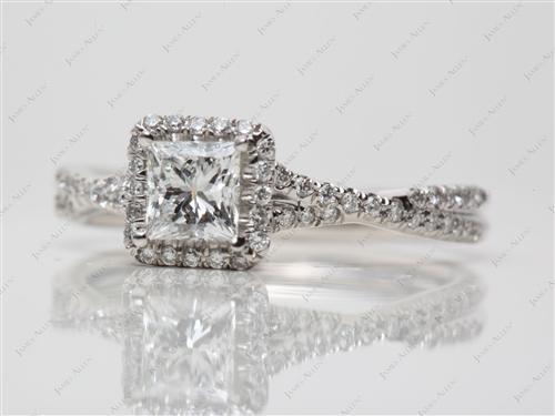 Platinum 0.71 Princess cut Pave Ring