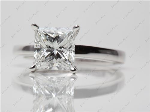 White Gold 2.09 Princess cut Diamond Rings