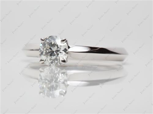 White Gold 0.52 Round cut Solitaire Engagement Rings