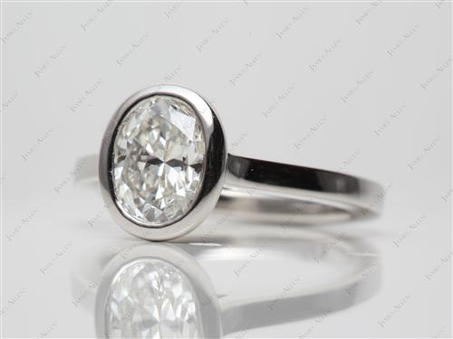 Platinum 1.11 Oval cut Round Solitaire Ring