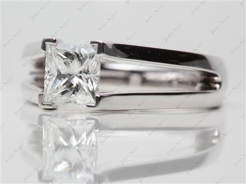 White Gold 1.21 Princess cut Tension Engagement Rings