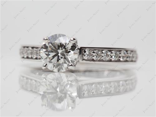 White Gold 0.86 Round cut Engagement Ring