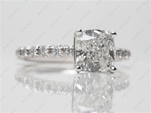Platinum 1.81 Cushion cut Engagement Rings Pave