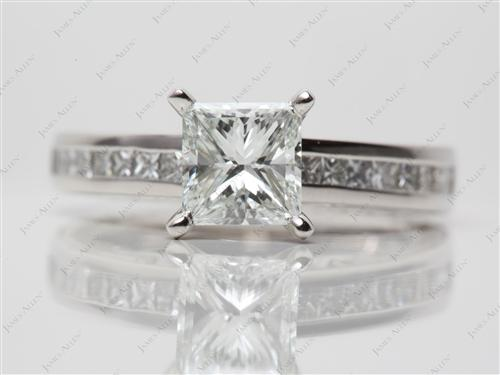 Platinum 1.20 Princess cut Channel Set Diamond Engagement Rings