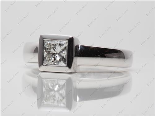 White Gold 0.53 Princess cut Tension Set Engagement Rings