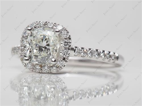 White Gold 1.01 Cushion cut Pave Ring Set