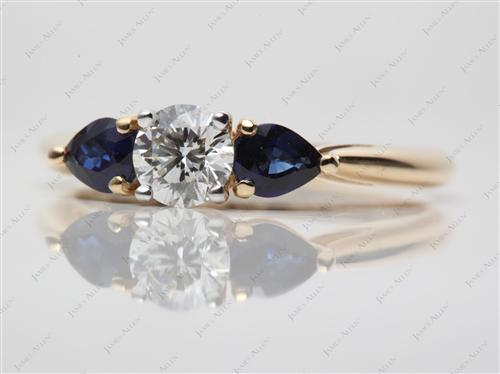 Gold 0.63 Round cut Colored Stone Engagement Rings