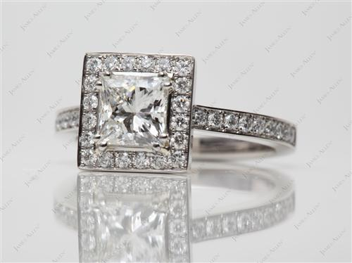 Platinum 1.02 Princess cut Micro Pave Rings